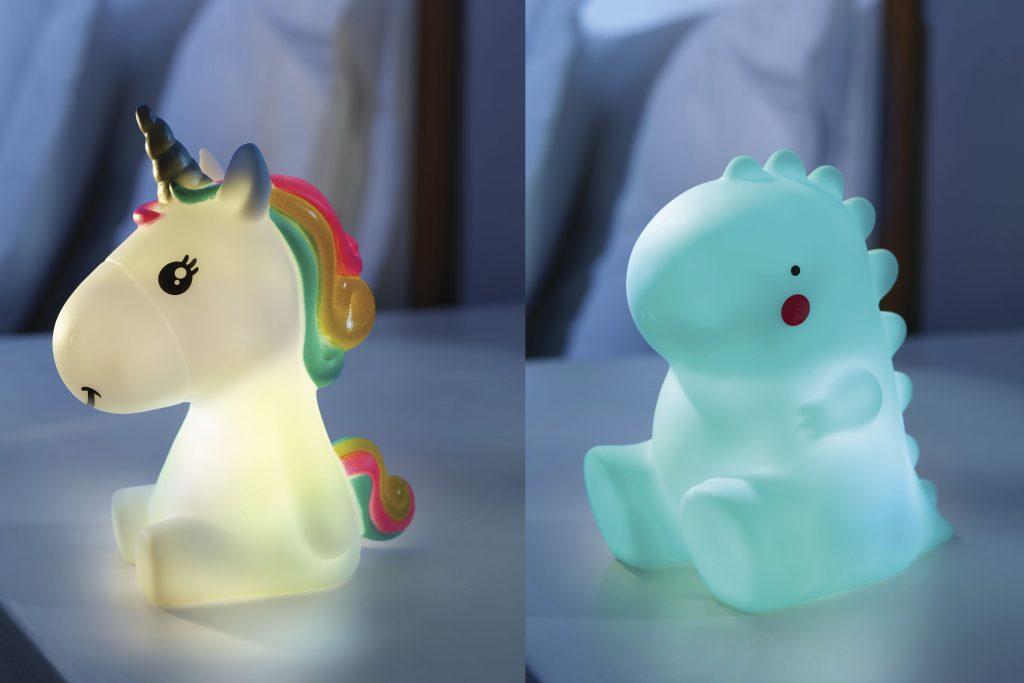 Regalos útiles y divertidos: lámpara con forma de Dinosaurio o Unicornio